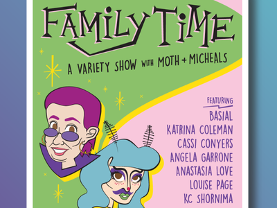 Family Time portraits vector performance memphis family time variety show drag comedy poster design