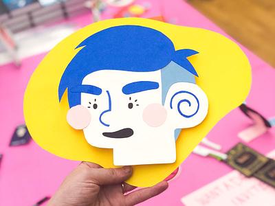 Selfie - Memphis Meet-up meet-up head self portrait cut paper