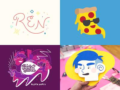 2018 head pizza logo flat vector illustration vector