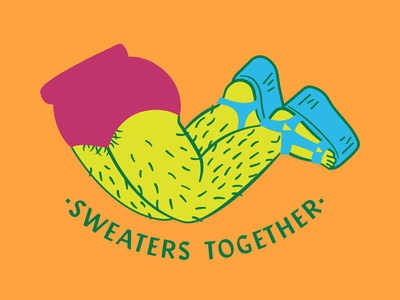 Sweaters Together illustration legs punk rock feminism hairy chubby fat body hair body positivity