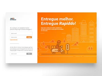 Login page for Rapiddo Entregas moto delivery startup orange cloud saas food landing page login