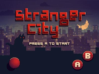 Stranger City Game 8bit city 80 vintage pixel run cat plataform character design game
