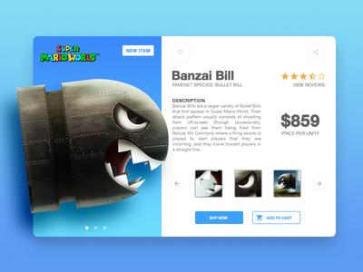 Banzai Bill shop product character banzai bill bullet mario super game illustration