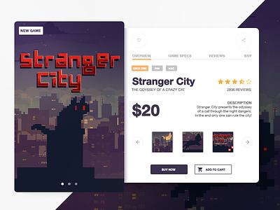 Stranger City game card shop product character danger night vintage city cat game illustration