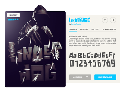 Underdog font design mma boxe fight lettering letter face font type typography
