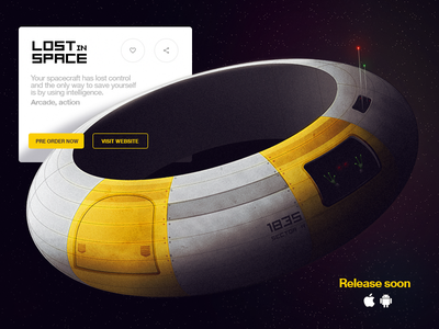 Lost in Space ux ui card interface ovni galaxy ship et space game