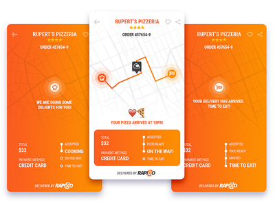 Rapiddo mobile tracking track route map food product ux ui interface app delivery