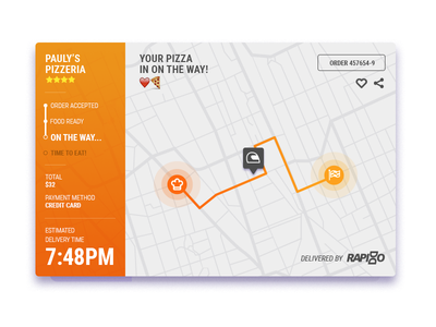 Food Delivery Tracking map fleet delivery food ui ux web mobile interface