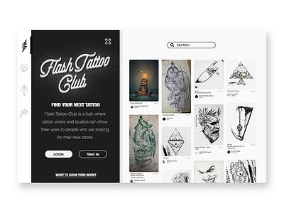 Flash Tattoo Club black ink instagram photo bw tattoo interface ui ux