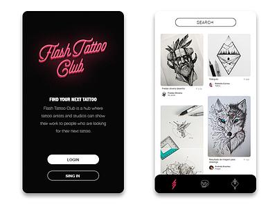 Flash Tattoo Club app sketch drawing art ink studio tattoo flash mobile app