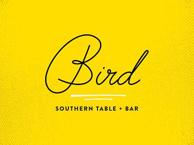Bird Logo jazzy type make it pop yellow put a bird on it logo restaurant branding tubular custom type