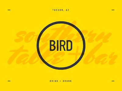 Bird southern drunk drink tucson yellow scripty restaurant logo bird
