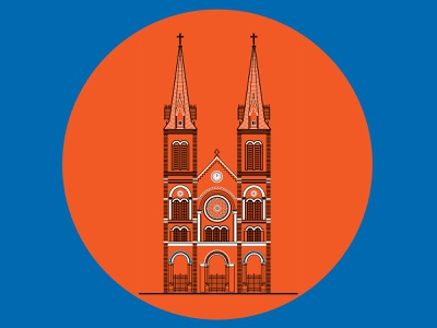 Notre-Dame Cathedral Basilica of Saigon notredame hcmc sketch art adobe church design illustration church tower
