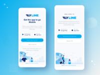 FlyLine Home flight booking app google play app store ui flight search flight booking flight app landing page mobile illustration chart app ui ux