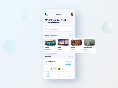 FlyLine Explore Destination tabs interaction design adobexd flight search flight booking flight explore interaction app ui ux