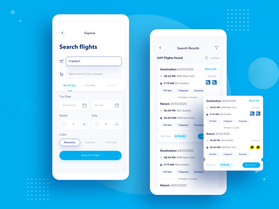 FlyLine Search and Search Result ios app design flat design interactions ui ux app tabs search results flight booking flight flight search