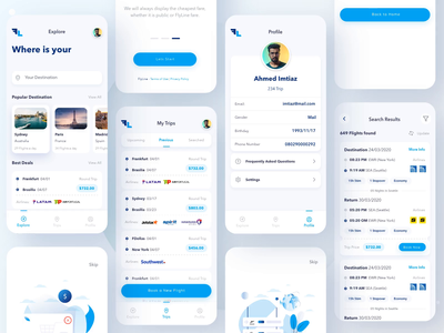 FlyLine Flight Booking App interaction animation filters flight search searching travel app flight booking flight app illustrations icon app chart ui ux
