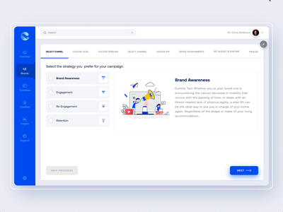 Onboarding Interaction brand campaign gif animation buttons layout left menu menu webapplication ui interaction saas app analytics tabs illustration ui app dashboard onboarding webapp web