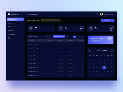 Admintory Dark Version dark ui admin dashboard admin collapsed menu web app admin template menu interaction gif animated animation interaction video card order details ecommerce dashboard ecommerce e-commerce design e-comerce dark dashboard dashboard ui dashboad