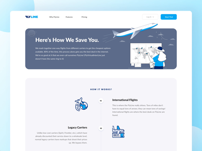 FlyLine How it Works travel website travel agency ticket booking webpage landingpage adobe xd gradient animation how it works icons flightbooking flight app web interaction web design