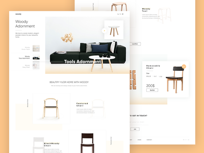 Woody Home page & Shop Details page clean ui ux wood woody website shooing card product details product online shop e-commerce chair