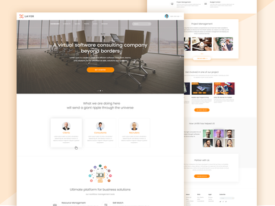 LAYER - Software Consulting Company Website profile software team agency consultant business solution business landing hire home page software management home marcket place