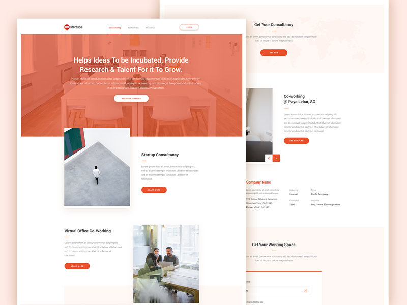 80Startups Landing Page Concept ui ux landing page input form input filed company profile business solution business landing home page agency business consultancy startup