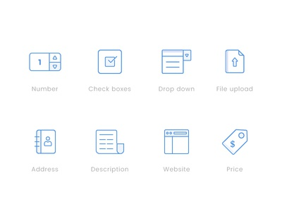Icons for Dashboard project Part-01  dashboard icon.. illustration icon set icons price website icon description address file upload drop down check box number