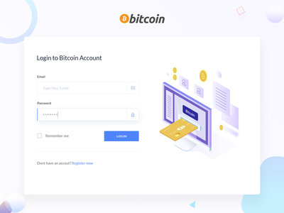 Bitcoin Login login screen gradient colorful popup uiux illustration isometric bitcoin sign up login. sign in