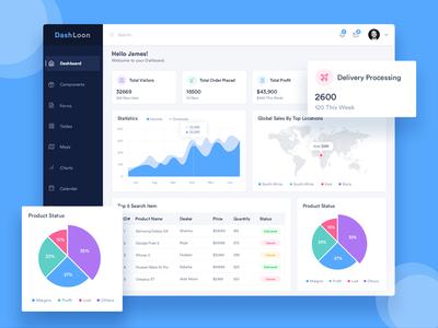 DashLoon Admin Dashboard pie chart line chart crm admin charts html5 template analytics dashboard