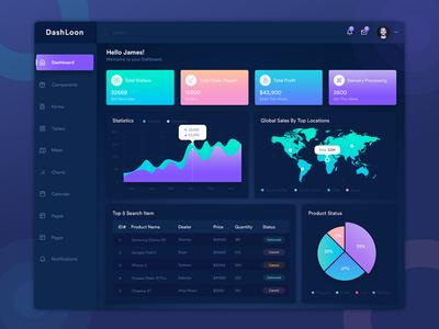 DashLoon Admin Dashboard dark dashboard pie chart line chart crm admin analytics dashboard html5 template charts