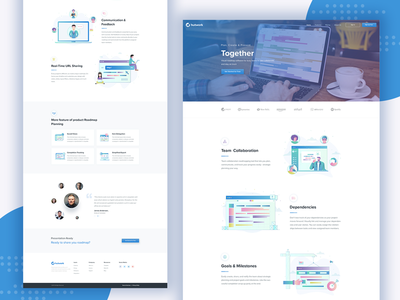 Hutwork Homepage real-time url sharing communication  feedback illustrations integrations goals  milestones dependencies team collaboration roadmap product road map home page