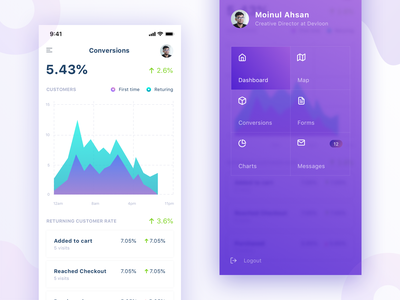 Conversions and Menu Screen chart crm gradiant menu analytics mobile dashboard mobile app mobile icon ui ux illustration dashboard