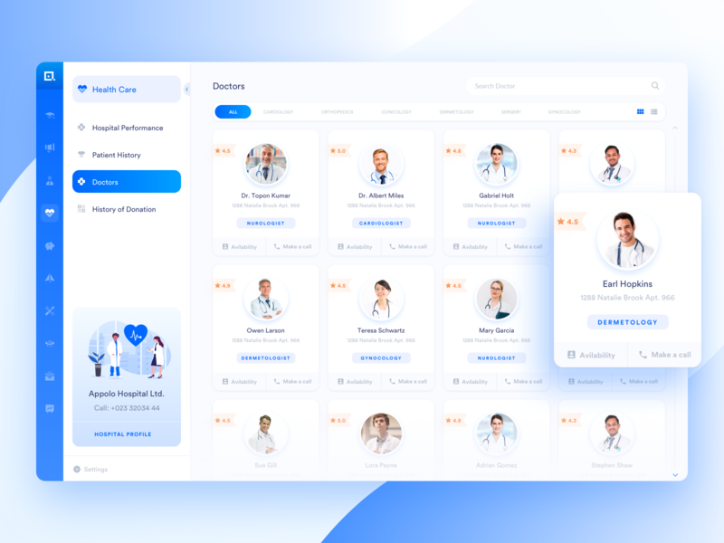 Doctor Search medical ui chart cool dashboard clean dashboard hospital management analytics listings filter search bar listing tab menu hospital app minimal medical dashboard medical web app dashboard profile doctor medical app