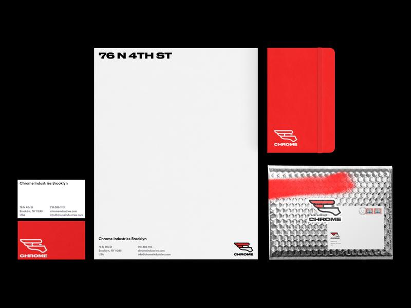 Chrome Industries Rebrand typography design business card letterhead stationery chrome rebrand branding logo design logo