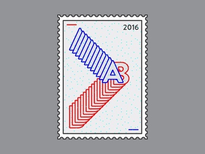 2016 Stamp typography print letters 2016 mail stamp