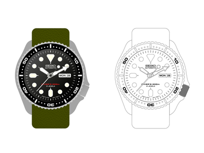 Seiko SKX007 dive watch dive automatic watch line drawing time illustration skx007 watch seiko