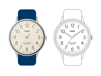 Timex Waterbury typography linedrawing time flat illustration simple quartz waterbury watch timex