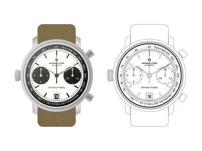 1970s Hamilton Chrono-Matic Reference 11002-3 ux typography design vector panda chrono-matic hamilton chronograph vintage watch ui time illustration