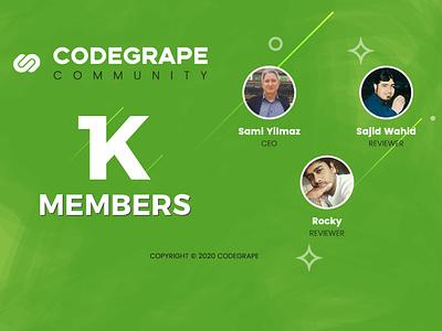 1K MEMBERS on CODEGRAPE COMMUNITY thankyou resale resalable members marketplace followers community codegrape 1kfollowers 1k