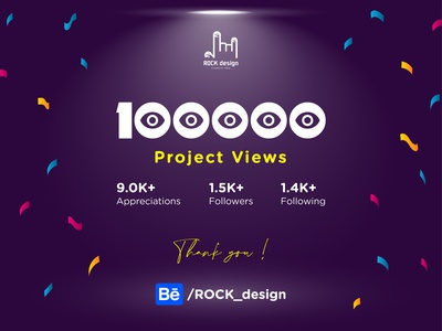 100000 Project Views thank you thanks follow me following followers appreciation project view 100k 100000