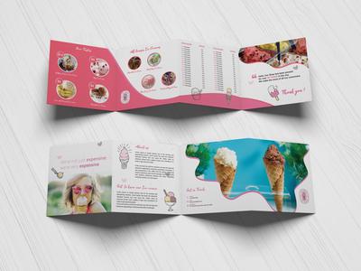 Ice Cream Shop  4 FOLD SQUARE BROCHURE restaurant menu design menu ice cream shop four fold cafe business brochure design brochure 4 fold