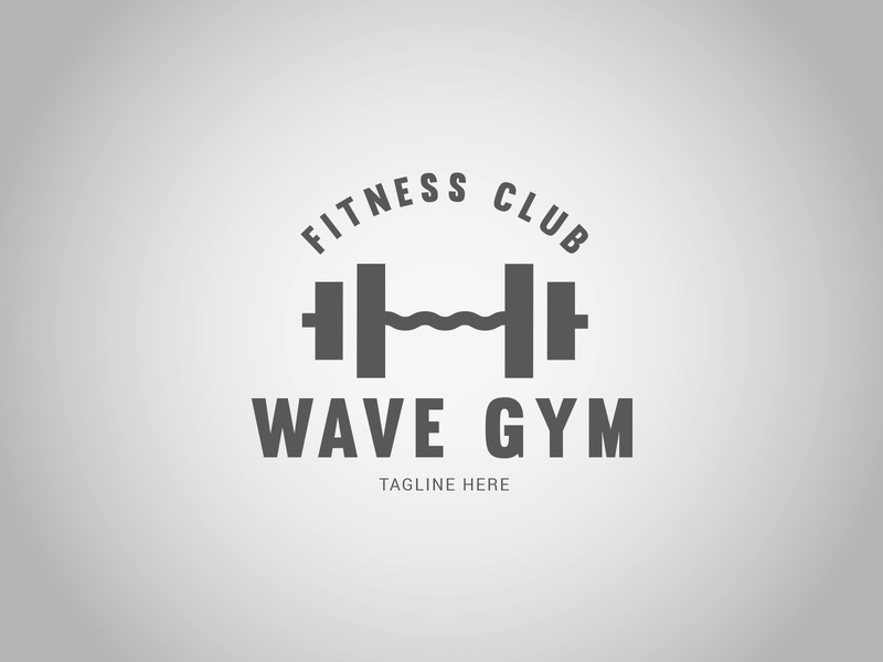 WAVE GYM Logo wave trainer gym fitness exercise equipment dumbbell bodybuilding bodybuilder aerobic