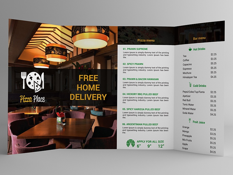 4 Fold Pizza Place Brochure restaurant pizza place pizza menu pizza online menu hotel fast food dinner cafe brochure 4 fold