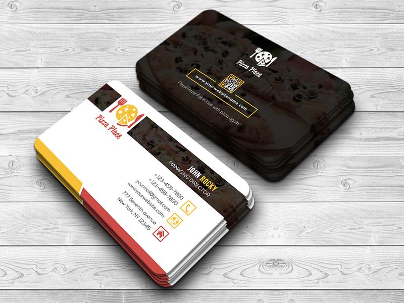 pizza place business card by  ud83c udfa8 rock design  ud83c udfa8
