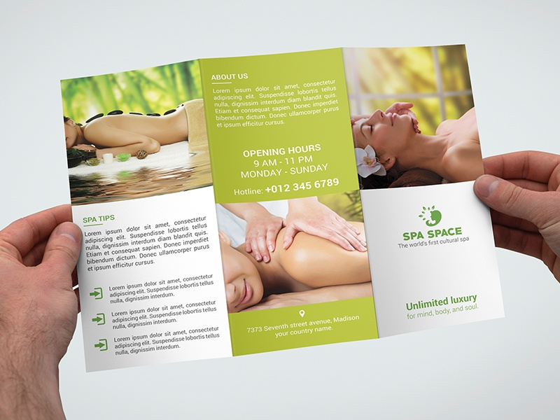 Spa Space Trifold Brochure by ROCK design Dribbble – Spa Brochure