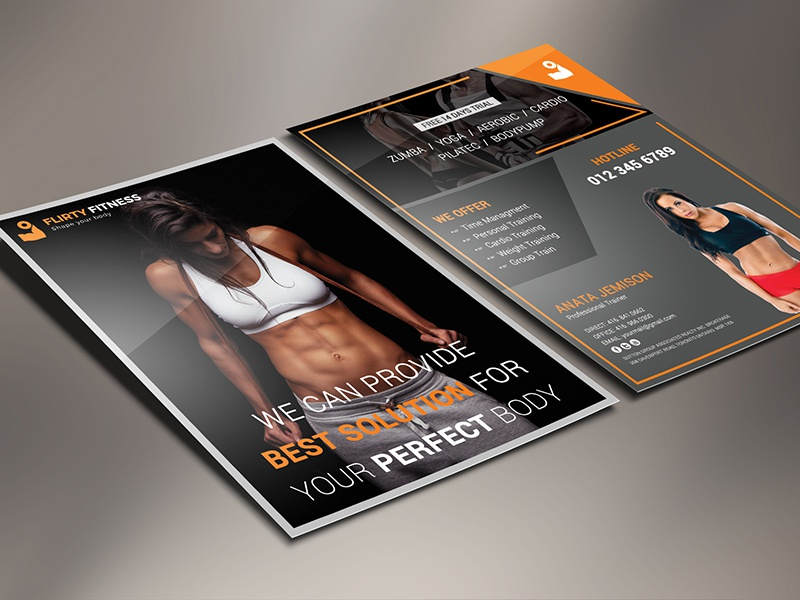 Fitness Flyer yoga work-out sport spa muscle jogging healthy gym flyer fitness center exercise both side design bodybuilding