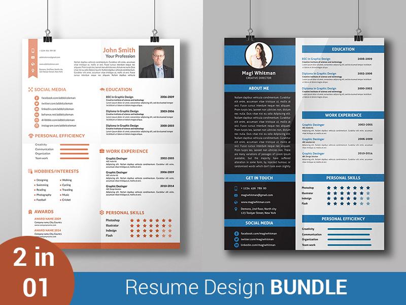 resume design bundle by  ud83c udfa8 rock design  ud83c udfa8