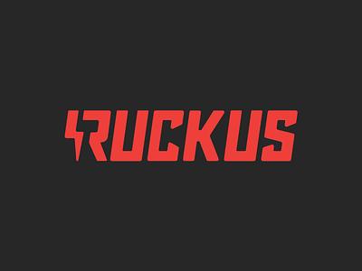 Ruckus Labs black red americana lightning ruckus identity logo
