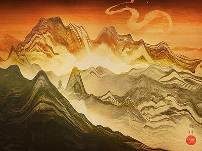 Golden Mountain (Wallpaper) 3d abstract art color artwork cinema 4d render download free wallpaper print